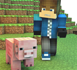 Minecraft pig and and a man in front of a hill